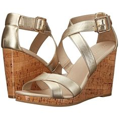 Cole Haan Jillian Wedge (Soft Gold Metallic Leather) Women's Wedge... ($90) ❤ liked on Polyvore featuring shoes, sandals, gold, leather wedge shoes, wedges shoes, metallic gold sandals, platform sandals and cole haan sandals