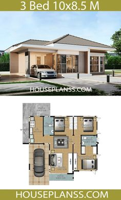 House Plans Idea with 3 Bedrooms - House Plans Sam Beautiful House Plans, Simple House Plans, Bungalow House Plans, Family House Plans, Dream House Plans, Modern House Plans, Small House Layout, House Layout Plans, House Layouts