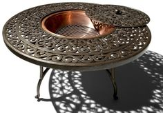 Fire Pit with Table Outdoor Backyard Deck Cast Aluminum Round Garden Furniture Fire Pit Coffee Table, Fire Pit Table, Coffee Tables, Patio Furniture Sets, Garden Furniture, Outdoor Furniture, Furniture Design, Outdoor Heaters, Patio Heater