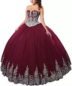 DingDingMail Burgundy Ball Gown Wedding Dresses for Bride 2019 Sweetheart Tulle Quinceanera Dresses Quince Dresses, 15 Dresses, Ball Dresses, Ball Gowns, Fashion Dresses, Dresses Online, 50 Fashion, Fashion Styles, Lace Beach Wedding Dress