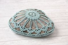 Crochet covered rock lace stone heart shaped by TableTopJewels
