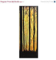 """Ursprüngliche Landschaftsmalerei Wald Bäume Galerie Fine Art von Henry Parsinia bereit zum Hang 48 """"x 18"""""""