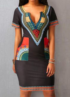 Black Split Neck Printed Pocket Dress Off you really don't want to miss Enjoy First Order Off African Fashion Designers, African Fashion Dresses, African Dress, Fashion Outfits, Womens Fashion, Fashion Ideas, African Dashiki, African Style, Dress Fashion