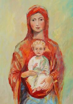 Madonna and Child, 2009 Brief Description: oil on canvas Artist Info: Elizabeth Zeller Lockhart Lockhart Lockhart (That Married Couple) Blessed Mother Mary, Divine Mother, Blessed Virgin Mary, Madonna Art, Madonna And Child, Religious Icons, Religious Art, Images Of Mary, Queen Of Heaven