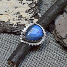 Sterling Silver Labradorite Ring  Adjustable by YagnaWireJewelry