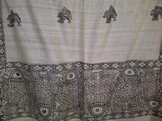 62x21 Cream Indian Tussar Silk Scarf with Madhubani Hand Painted Fish Long Scarf (0035). $79.99, via Etsy.