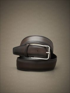 Supersoft stitched rounded-edge belt in hand-dyed calfskin. #fw14 #man #accessories