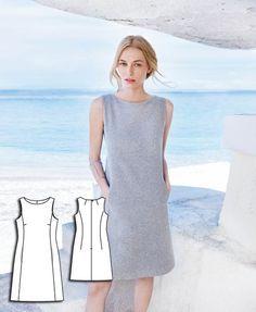 burda style c dress definition Sewing Clothes, Diy Clothes, Clothes For Women, Dress Sewing Patterns, Clothing Patterns, Shift Dress Patterns, Pattern Sewing, Burda Patterns, Shift Dresses