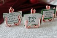Use mini candy canes for your Christmas party food labels. #Holiday #Decor