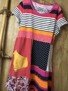 Women's Upcycled Bright T Shirt Tunic/Dress Fun Funky