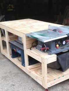 I have seen a few benches that incorporate a way to use and store several pieces of equipment in a smaller area. I designed this particular bench to free up space and yet give me a good work area for what ever project I may be working on. So far I... #woodworkingtools #GoodBeginnerWoodworkingProjects