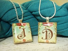 Vintage Monogram Letters - Scrabble Tile Pendants by Mango and Lime Design