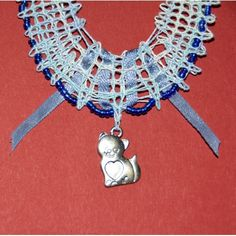 Swarovski, Jewelry, Necklaces, Bead, Blue Necklace, Lace Jewelry, Cat Love, Bobbin Lace, Love Birds