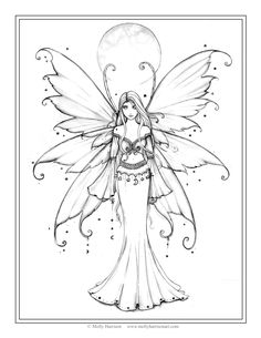 """Free Fairy Coloring Page by Molly Harrison Fantasy Art """"December Blue"""""""