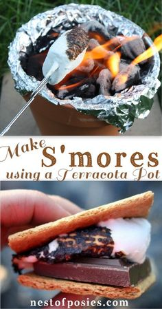 No camping required, no fire pit required!  Just use a Terracotta Pot to make S'mores via Nest of Posies