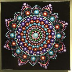 Hand Painted Mandala on Canvas, Meditation Mandala, Dot Art, Calming, Healing, # 515 by MafaStones on Etsy