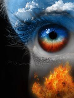 Eye of Heaven and Hell people, person, eyes, art, blue sky clouds fire Foto Top, Image Blog, Look Into My Eyes, Art Anime, Heaven And Hell, Human Eye, Fire And Ice, Eye Art, All About Eyes