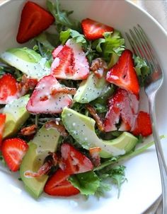 Summer get here please!!  Strawberry and avocado salad with poppyseed dressing