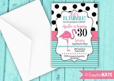 Let's Flamingle! Pink Flamingo Pool Party - Birthday invitation - personalized printable digital invitations - black and white polka dots - preppy -  modern - retro - hot pink - aqua blue stripes - diy - etsy.com - 30th birthday - 1st birthday party ideas - girls party decorations - girl birthday - sweet 16