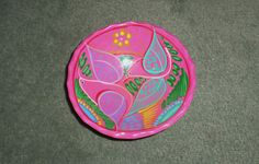 """Talavera Mexican Style Pottery Footed Salsa Dip Bowl Pink Paisley, 5.5"""" Across"""