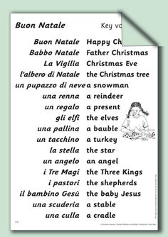 Christmas vocabulary Italian