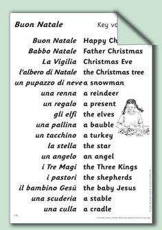 Christmas vocabulary Italian