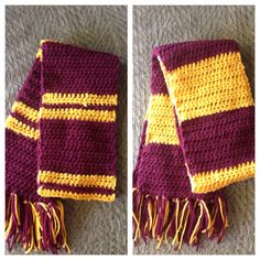 Griffendor Harry Potter scarves I made for Halloween with my sisters!