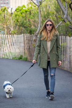 Palermo in jeans walking her dog in Brooklyn April 25, 2016