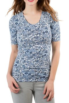 Comfortable and soft tri-blend Cotton/Modal/Spandex jersey knit Flat finished hems at sleeve and neckline Lower front and back scoop. Fit tends to run, it's suggested to size up.   Half Sleeve Floral Top  by Downeast Basics. Clothing - Tops Vermont