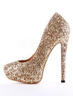 fc70879d2caedd Women High heels Glitter Prom Shoes Platform Slip On Pumps Blond Party  Shoes. GlitzerGoldFrauen ...