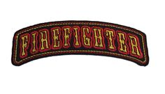 FIREFIGHTER Embroidered Gold / Red on Black Logo 3 3/4 Inches Wide Iron On Patch #UB
