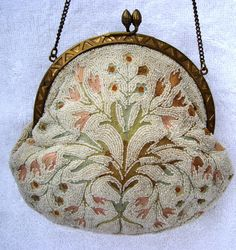 Antique French Micro Seed Beaded Crewel Purse Handbag Handmade in France Measures 5.5 x 6 Handmade Handbags & Accessories - http://amzn.to/2ij5DXx