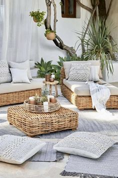 NgLp Designs shares Things We Love: easy going weekends lounging in the backyard patio   seating and pillows   white and tartan decor   home decor   outdoor lifestyle   things to do on the weekend   White   #whitedecor #outdoorliving #rattanfurniture
