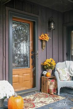 DIY Show Off gives us an update on her mom's home renovation, featuring a newly installed Pella entry door with {Sponsored by Pella} House Front Door, Front Doors, Front Porch, Slider Door, Wood Entry Doors, Diy Shows, Backyard Furniture, House Made, Better Homes And Gardens