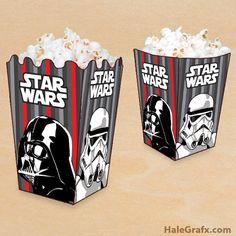 <p>Are you watching a marathon of Star Wars movies or having a party? Here is a free printable Star Wars Empire themed popcorn box for your Star Wars party or movie night. These are fun to print and create for a birthday or use them when you simply want to get friends and family together and watch Star Wars. We use them in our house for those weekend marathons. This printable popcorn box is themed with the Dark side of the force. There is a storm Trooper and the sith lord, Darth Vader. Just…