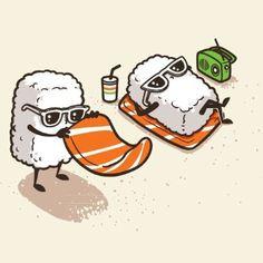 """Summer Sushi"" Funny Cartoon Sushi Sunbathing on Beach - Vinyl Sticker"