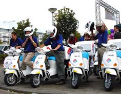 Dominos Pizza in The Netherlands is testing the Oxygen electric cargo scooter for pizza delivery. Oxygen is based in Italy and offers consumer, police and delivery version of its zero-emission scooter, which has a range of 75-100km (46-62 mi) and a urban controlled speed of 45kph (27 mph). The company, which also makes electric bicycles plans to introduce the cargo model into North America in 2005. Pizza Delivery, Electric Bicycle, Save The Planet, Bicycles, Netherlands, North America, Police, Zero, Wheels