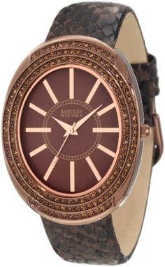 Badgley Mischka Women%27s BA%2F1195BMBN Swarovski Crystal Accented Large Brown Ion-Plated Oval Case Brown Python Print Leather Strap Watch