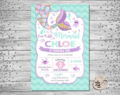 Mermaid Invitation Personalized Printable 1st By Thehappycatstudio