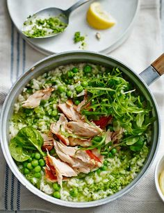 Pea pesto risotto with honey roast salmon. Quick and easy entertaining recipe, ready in under 30 minutes!