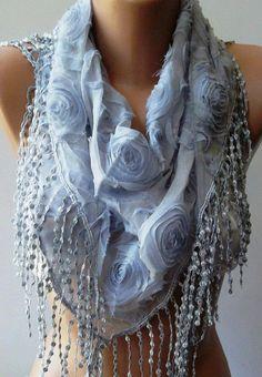 Grey  Elegance Shawl / Scarf  with Lace Edge by womann on Etsy, $19.90