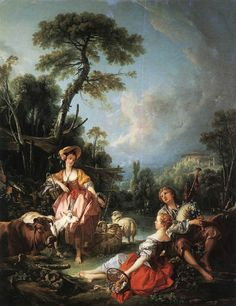 A Summer Pastoral Francois Boucher classic Rococo art for sale at Toperfect gallery. Buy the A Summer Pastoral Francois Boucher classic Rococo oil painting in Factory Price. All Paintings are Satisfaction Guaranteed Rococo Painting, Oil Painting Reproductions, French Rococo, French Art, Art Ancien, Portrait Images, Pierre Auguste Renoir, Claude Monet, Art Plastique