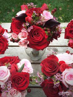 Blush, Burgundy & Red Bridal Bouquet http://www.pristinefloral.com/