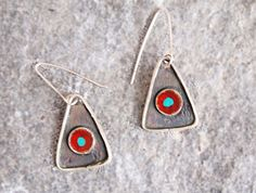 Triangle Drop Earrings with Circle, Blackened Sterling Silver
