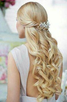 DIY Wedding Hair Style: Half up, half down curls with simple flowers or baby's breath.