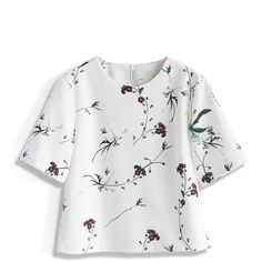 Chicwish Serenity Floral White top ($34) ❤ liked on Polyvore featuring tops, shirts, t-shirts, white, floral shirt, shirts & tops, button shirts, white cotton shirt and cotton button shirt