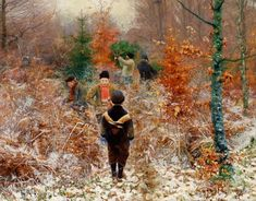 Brendekilde, Hans Andersen (Danish - Cutting Christmas trees in the forest, in the foreground boys playing in the snow 1885 oil on canvas cm signed and dated private collection Christmas Art, Art Painting, Figure Painting, Painting Illustration, Painter Blog, Painting, Beautiful Paintings, Art, Andersen
