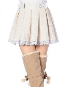 cute lace white and blue skirt with little blue bows on top!