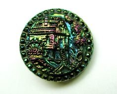 Antique Black Glass Button w Carnival Luster Water Mill Design