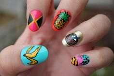 tropical pineapple nail art